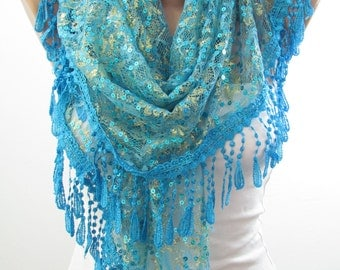 Lace Scarf Shawl Golden Shimmer Scarf Sequin Scarf Blue Wedding Scarf Bridesmaids Gifts Women Fashion Accessories Christmas Gifts For Her