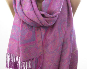 Paisley Pashmina Scarf Purple Cowl Scarf Purple Wedding Shawl Scarf Fall Winter Fashion Women Fashion Accessories Christmas Gifts For Her