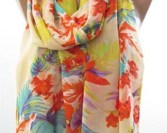 Valentines Gift Scarf Floral Scarf Shawl Multicolor Scarf Cowl Scarf Chiffon Scarf Lightweight Scarf Women Fashion Accessories Gift Ideas Fo