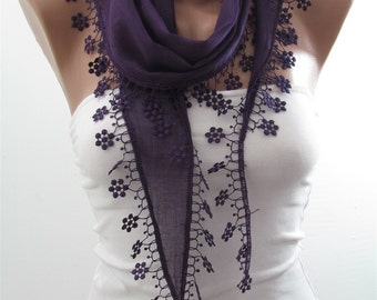 Cotton Scarf Purple Scarf Shawl Cowl scarf with Lace Edge Purple Wedding Bridesmaids Gifts Women Fashion Accessories Christmas Gifts For Her
