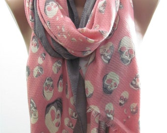 Skull Scarf Shawl Day Of The Dead Scarf Pink Gray Scarf Gifts For Her Halloween Cross Bones Scarf Punk Cowl Scarf Women Fashion Accessories