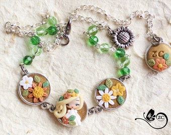bracelet/necklace with fairy / fimo / polymerclay / clay