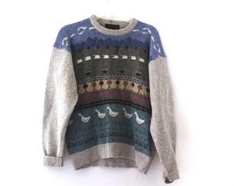 Vintage 80s sweater Eddie Bauer country farm animals wool preppy
