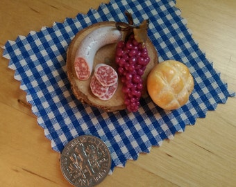 Finest Salami with Grapes & autumm bread on a board OOAK 1:12 Dollhouse Miniature Food Fimo one inch scale, general store