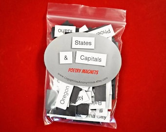 States & Capitals Poetry Magnets - Refrigerator Poetry Word Magnets