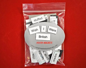 Wish I Were British Poetry Magnet Set - Refrigerator Poetry Word Magnets