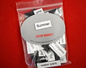 Summer Poetry Magnets - Refrigerator Poetry Word Magnets