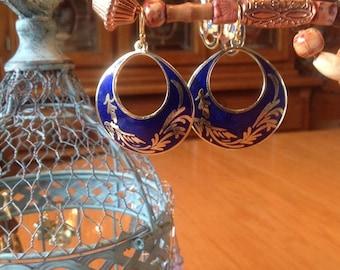 Royal Blue on Gold Dangle Earrings