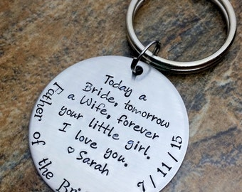 Father Of The Bride Personalized Keychain Gift From Today A Tomorrow