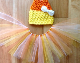 Baby Girl Thanksgiving Outfit. Newborn Halloween Costume. Candy Corn Costume