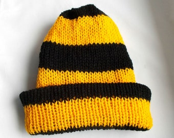 Mens beanies, Mens winter hat, Knitted beanie hat, Reversible beanie, Mans knitted hats, Black and Yellow, Stripe Mens Hat, Bee colors