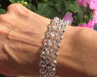 Bracelet  Silver Rolo - Matches Petoskey Stone Necklace