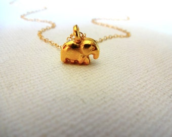 Small Gold Vermeil Elephant Charm Necklace; Karen Hill Tribe Gold Elephant & 14k Gold Fill Detailed Charm; Gift Idea for Strength and Power