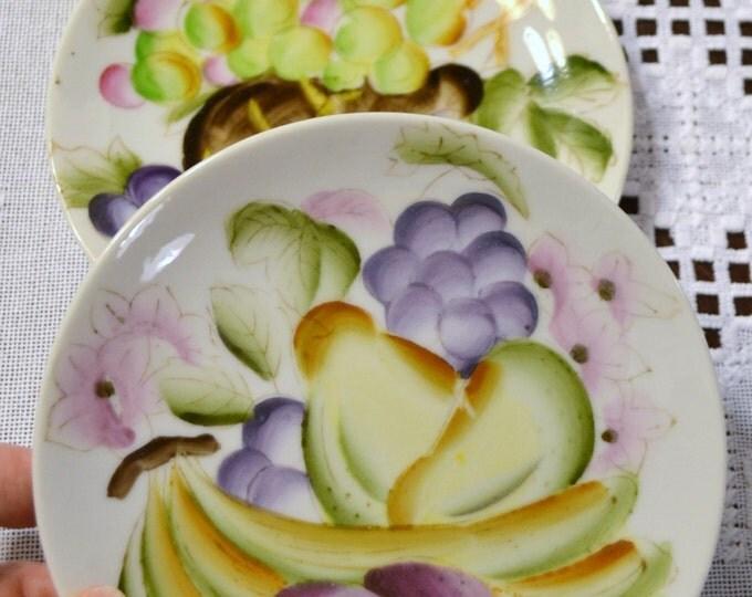 Vintage Decorative Plate Set of 2 Hand Painted Fruit Design Yellow Purple Pink Gold PanchosPorch