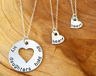 Mother and Daughter Necklace, My Daughter Holds My Heart, Personalized Necklace, Mom Jewelry, Matching Necklaces, Two Daughters