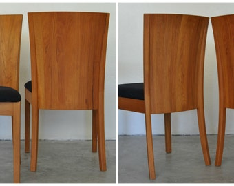 Sculpted Teak Dining Chairs, Round Solid Teak Dining Table, Small Space Furniture Dining Set/Teak Side Chair