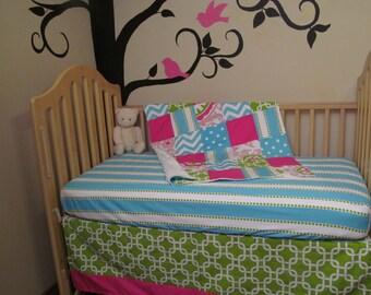 Baby Girl Crib Bedding Set - Minky Blanket, Skirt & Sheet in Pink Lime Aqua