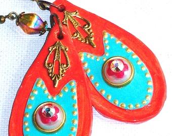 Large Orange Boho Earrings Hand Painted Funky Bohemian Jewelry FREE SHIPPING