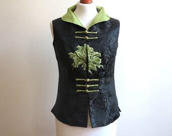 Vintage Asian Black Lime Green Vest Exotic Chinese Oriental Waistcoat Medium Size