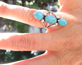 Turquoise Statement Ring Size 5.25