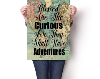 Blessed Are The Curious, Travel Poster Vintage, World Map Poster, Travel Quote, Map Print, World Map Poster, Inspirational Quote, Wanderlust