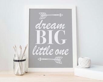 Nursery Wall Art, Grey Nursery, Grey White Decor, Purple Decor, Boys Nursery, Baby Boy Decor, Arrow Print, Dream Big Little One, Baby shower