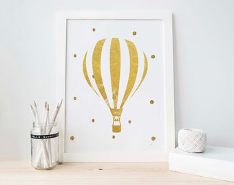 Gold Foil Printable, Hot Air Balloon, Gold Balloon Print, Gold Nursery Printable, Nursery Printable, Balloon Printable, Baby Girl Decoration