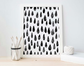 Watercolor Print, Abstract Art Printable, Rain Drop Print, Black Abstract Art, Modern Art, Black Abstract, Black and White, Digital Art