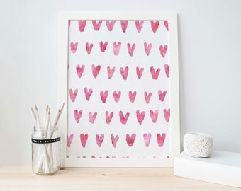 Watercolor Print, Abstract Art Printable, Heart Art Print,  Pink Abstract Art, Modern Art, Pink Abstract, Pink and White, Digital Art