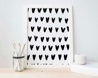 Black Watercolor Print, Black Abstract Art Printable, Hearts Art Print, Pink Abstract, Modern Art, Pink Abstract, Art Printable, Digital Art