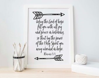Romans 15:13, Bible Verse Printable, Christian Art, Scripture Print, Black and White Print, Motivational Wall Print, Scripture Art Print