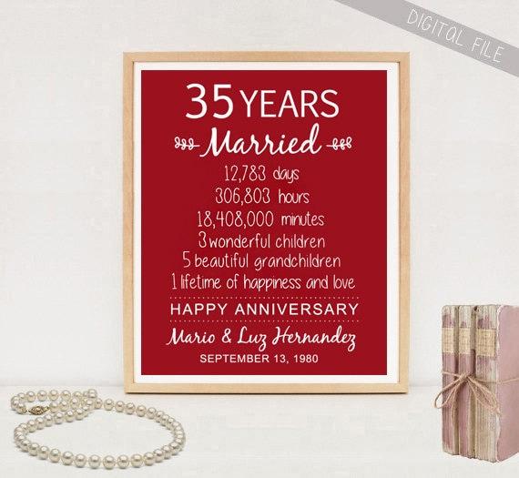 Wedding Anniversary 35 Years Gifts: 35th Anniversary Gift 35 Years Wedding Anniversary
