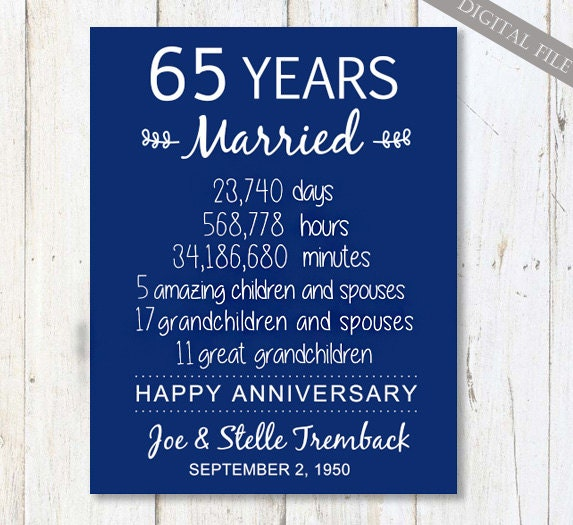 65th wedding anniversary Gift for Parents 65 years Wedding