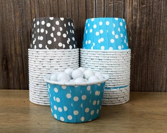 Black and Blue Paper Snack Cups - Set of 48 - Dot Candy Cup - Birthday Party - Mini Ice Cream Cups - Paper Nut Cup - Same Day Shipping