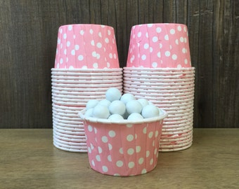 Pink and White Paper Snack Cups - Set of 48 - Polka Dot Candy Cup - Birthday Party - Mini Ice Cream Cup - Paper Nut Cup - Same Day Shipping