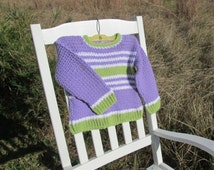 Completed Size 3T  Hand Crocheted Purple, Green and White Child's Sweater The Goats Meow on etsy