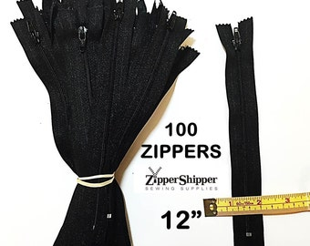 Bulk Zippers, Black Zippers, 12 Inches (30.5 cm), Lightweight for Handbags,  Nylon Coil #3 , For Purses +More, 100 Pieces
