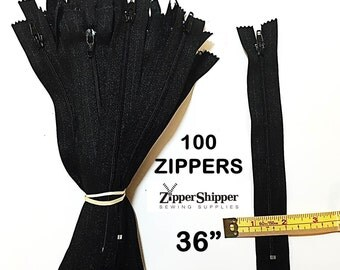 Discount Zippers, 36 Inch Black Zippers For Sewing, #3 Nylon Coil Closed End, 91.5 cm, All Purpose, Lightweight, 100 Pieces