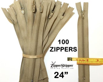 Dress Zippers, 24 Inch Zippers, Beige, Bulk Zippers, #3 Nylon Coil Closed End, For Pillows, Purses +More, 100 Pieces