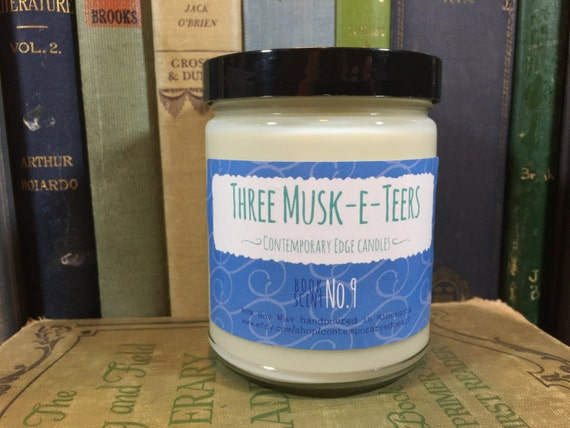 Three Musk-e-teers - Book Inspired Scented Soy Candles - 8oz glass jar