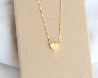 Gold Heart Necklace, Personalized Initial necklace, Hand stamped, Gold Letter Necklace, Gold Necklace, Bridesmaid Gift