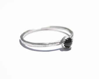 Handmade 4mm Onyx ring, sterling silver, stacking ring, black gemstone ring, skinny ring, serrated edge