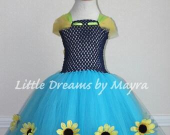 Sunflower tutu dress, Anna frozen fever inspired tutu dress size nb to 8years