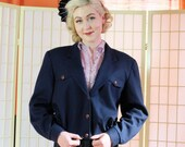 Retro 70's Blouson Navy Blue Wool Jacket . Vintage Airman's Style . Pendelton Virgin Wool . Classic Sporty Retro Women's Coat . size 12 .