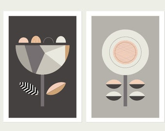 Scandi Flowers (Black and Grey) Series of Two Prints.