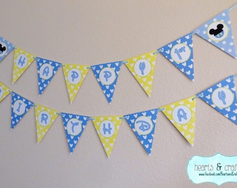 Baby Mickey Mouse Happy Birthday Banner /  Baby Mickey First Birthday / Print Your Own - FILE to PRINT DIY