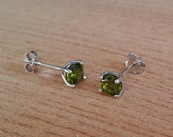 Genuine Peridot stud earrings, in solid sterling silver - 3mm, 4mm, 5mm or 6mm sizes!