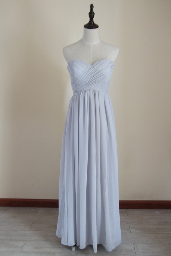 Items similar to light gray bridesmaid dress long chiffon for Light grey wedding dress