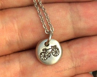 Hand Cast Pewter Minimalist Bicycle Charm Necklace - Biker Charm - Jewelry - Enjoy the Ride - Pewter - Sports - HarperLeeJewelry - HLJ