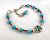 Turquoise and Red Mandala Anklet - OOAK